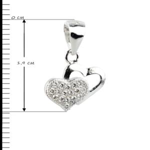 Купити Підвіску сердечки оздоблені фіанітами 6П105-В