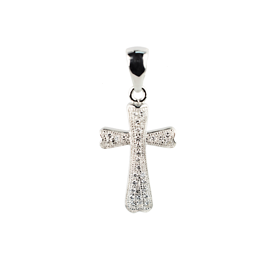 Купити Підвіску хрестик оздоблений маленькими фіанітами 6П120