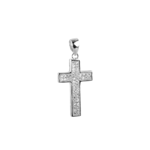 Купити Підвіска хрестик оздоблений маленькими фіанітами 6П125-С