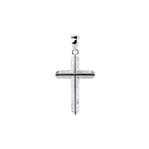 Купити Підвіска хрестик оздоблений маленькими фіанітами 6П130-D