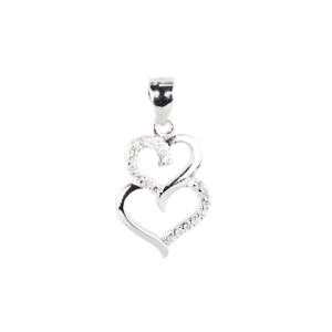 Купити Підвіску подвійне серце оздоблено фіанітами 6П160-А