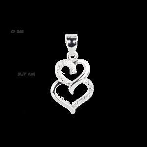 купити Підвіску подвійне серце оздоблено фіанітами 6П160-А, проба 925