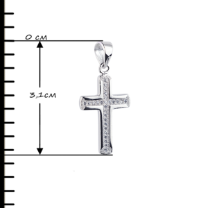 купити Підвіску хрестик оздоблений маленькими фіанітами 6П195, проба 925