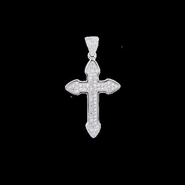 Купити Підвіску хрестик оздоблений маленькими фіанітами 6П215-А