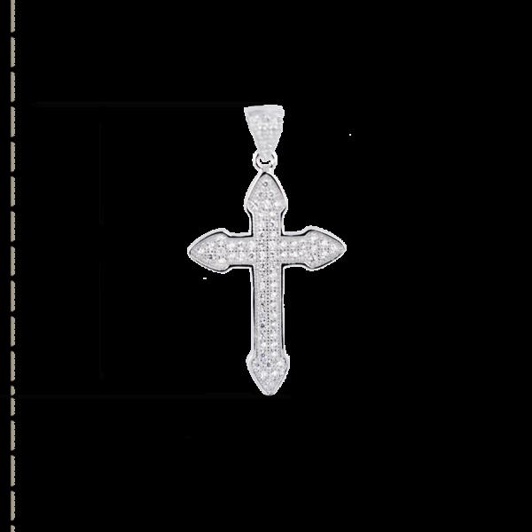 купити Підвіску хрестик оздоблений маленькими фіанітами 6П215-А, проба 925