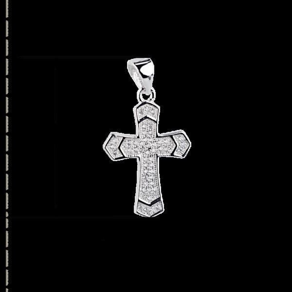 купити Підвіску хрестик оздоблений маленькими фіанітами 6П235, проба 925