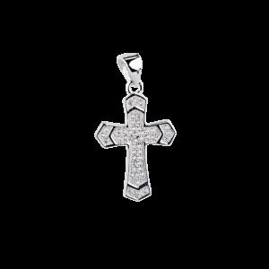 Купити Підвіску хрестик оздоблений маленькими фіанітами 6П235