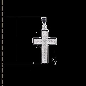 купити підвіску хрестик оздоблений маленькими фіанітами 6П260, проба 925