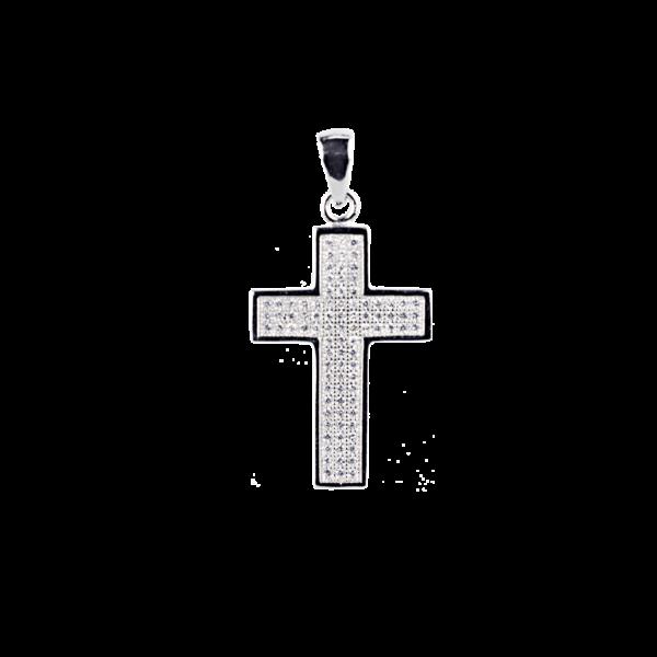 Купити Підвіску хрестик оздоблений маленькими фіанітами 6П260