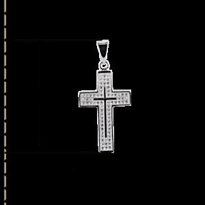 купити Підвіску хрестик оздоблений маленькими фіанітами 6П285, проба 925
