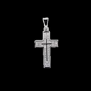 Купити Підвіску хрестик оздоблений маленькими фіанітами 6П285