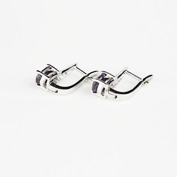 Купити сережки на англійському замку, овальний александрит з однією вертикальною фіанітовою доріжкою фото 2