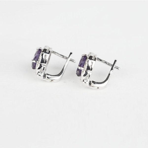 Купити, Сережки на англійському замку,овальний александрит в обрамлені фіанітів – Ювелірний магазин Срібний шлях фото 2