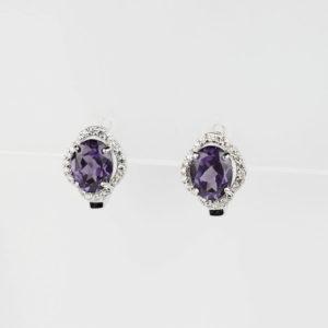 Купити, Сережки на англійському замку,овальний александрит в обрамлені фіанітів - Ювелірний магазин Срібний шлях