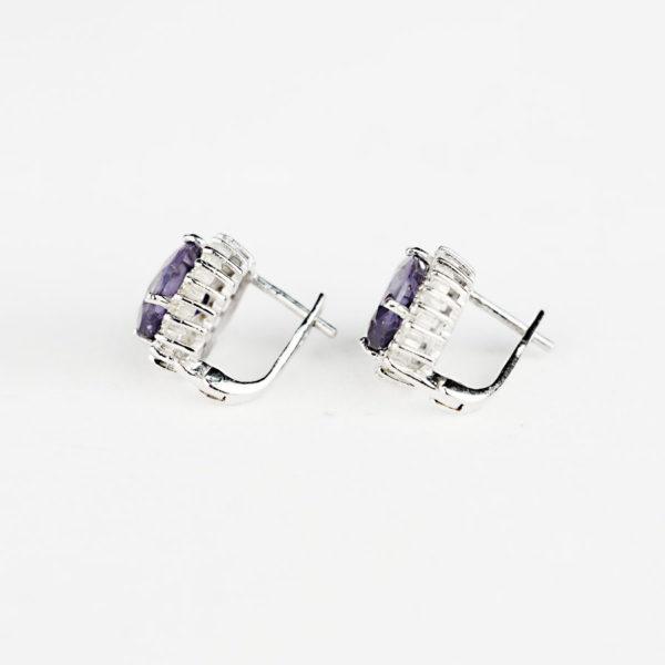 Купити, Сережки на англійському замку, овальний александрит в обрамлені фіанітів – Ювелірний магазин Срібний шлях фото 2