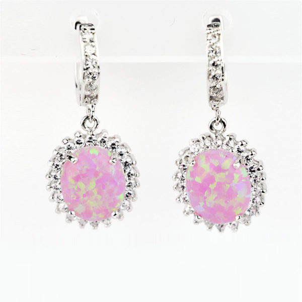 сережки, вставка натуральний камінь рожевий опал