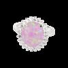 Каблучка в обрамленні, вставка натуральний камінь рожевий опал