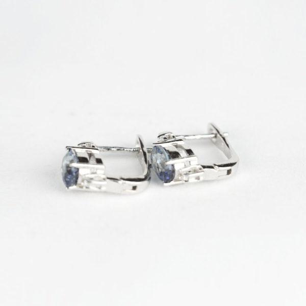 Сережки на англійскому замку, овальний іоліт з фіанітовою доріжкою фото 2