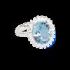 Каблучка, овальний блакитний топаз в обрамлені фіанітів