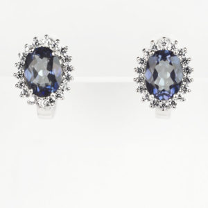 Сережки на англійскому замку, овальний іоліт в обрамлені фіанітів