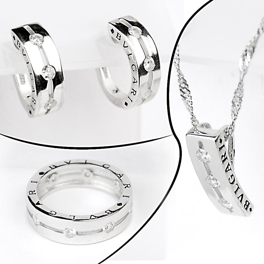 каблучка, підвіска та срібні сережки в стилі Bvlgari